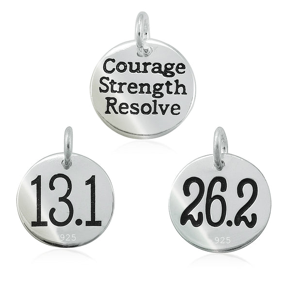 13.1 and 26.2 Courage Strength Resolve Double-Sided Charms
