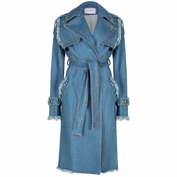 Distressed Denim Trench Coat