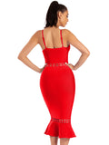 Claudia Red Cut Out Detail Mermaid Bottom Bandage Dress - Miss Circle