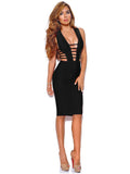 Daya Black Cutout Detail Bandage Dress - Miss Circle