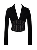 I Wish Black Stretch Crepe Blazer with Mesh - Miss Circle