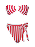 Boracay Red and White Stripe Bikini Set with Centre Ring - Miss Circle