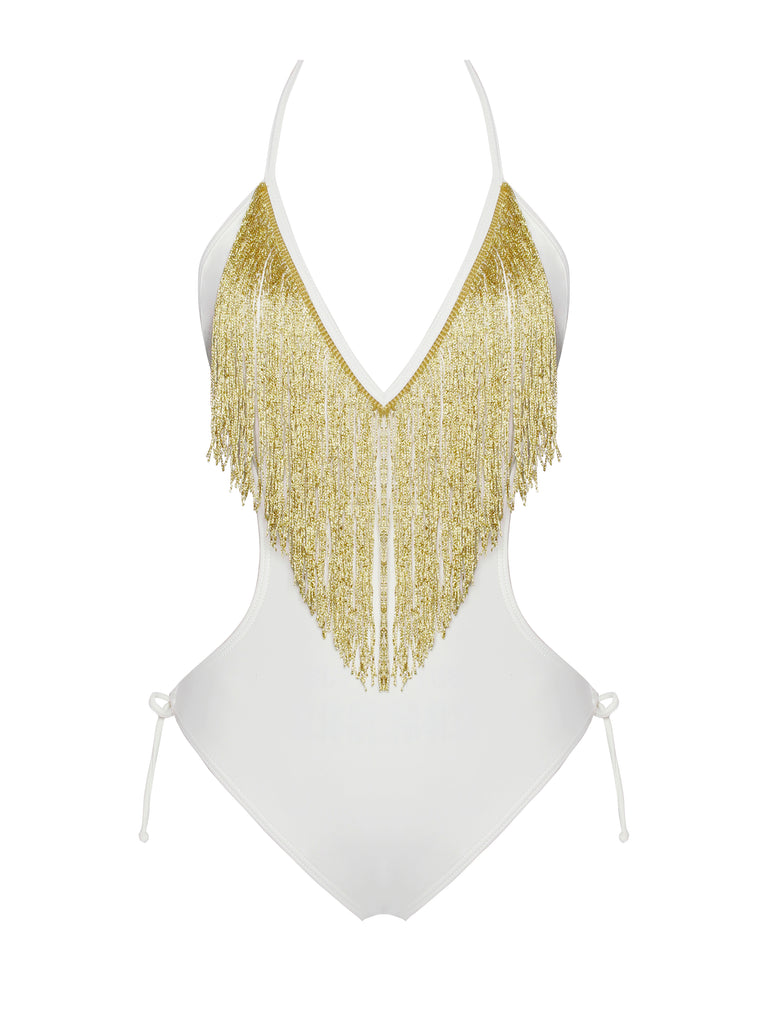 Nicoya V Neck White and Gold Fringe One Piece Swimsuit - Miss Circle