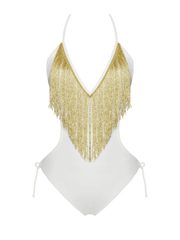 Nicoya V Neck White and Gold Fringe One Piece Swimsuit