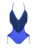 Nicoya V Neck Blue Fringe One Piece Swimsuit - Miss Circle