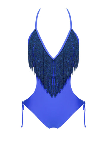 Nicoya V Neck Blue Fringe One Piece Swimsuit