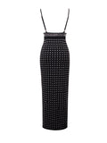 Belina Silver Studded High Slit Stretch Crepe Black Dress - Miss Circle