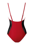 Caicos Red One Piece Swimsuit with Side Mesh - Miss Circle