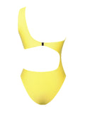 Bocas One Shoulder Strap Cutout Yellow Swimsuit - Miss Circle