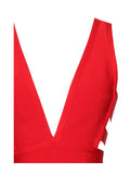 Minerva Red Cutout Detail V Neck Bandage Dress - Miss Circle