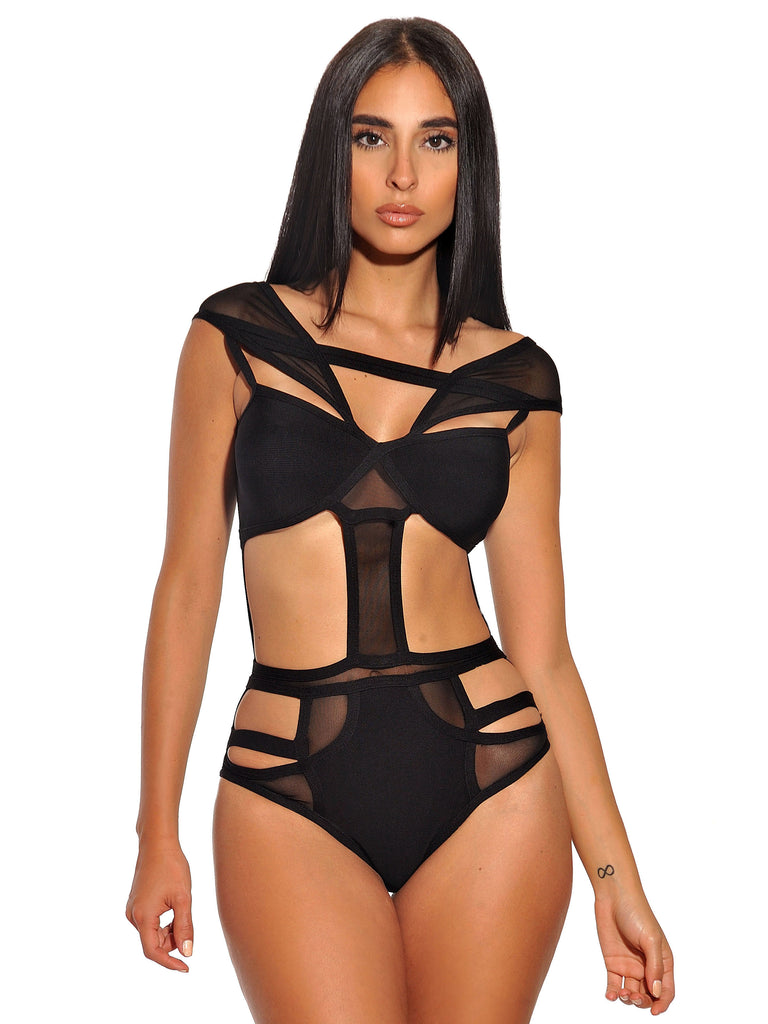Korbin Sheer Cutout Detail Bandage Bodysuit - Miss Circle
