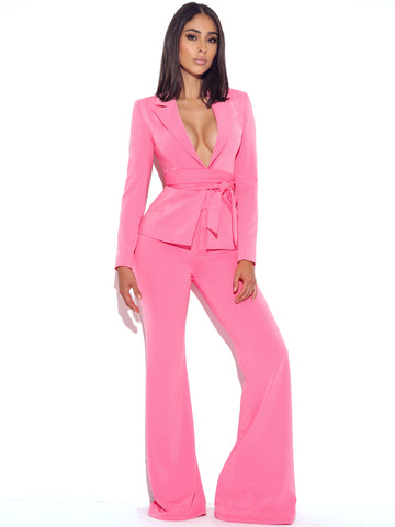 Another Love Pink Stretch Crepe Flared Trousers