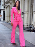Another Love Pink Tailored Blazer with Waist Belt - Miss Circle