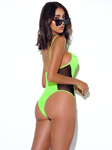 Caicos Neon Green One Piece Swimsuit with Side Mesh