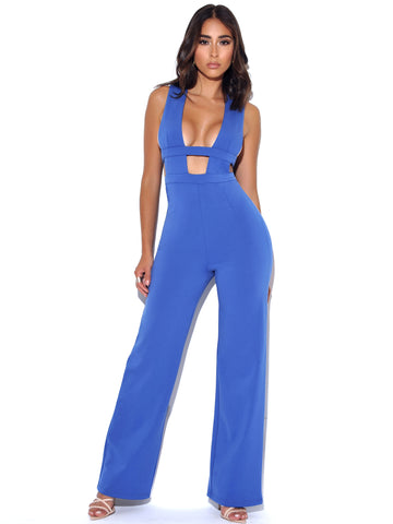 Know Yourself Blue Deep V Cut Out Stretch Crepe Jumpsuit