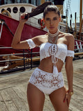 Acapulco White Off Shoulder Crochet Two Piece Swimsuit - Miss Circle