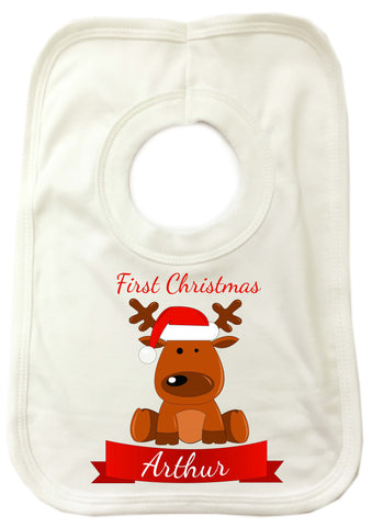 BB04 - Santa's Reindeer First Christmas Personalised Baby Bib