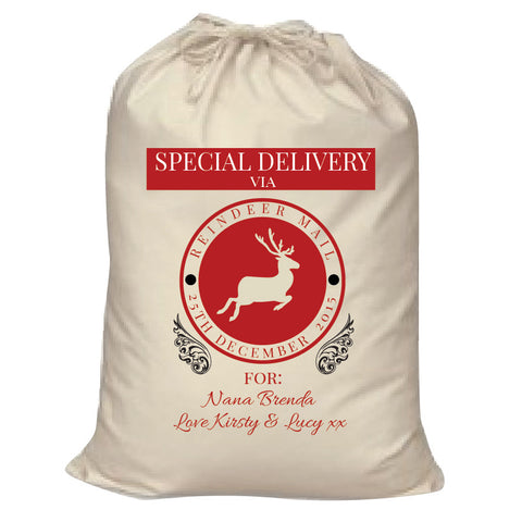 SS14 -   Special Delivery Via Reindeer Mail Solid Colour Personalised Christmas Santa Sack