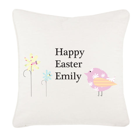 EA11 - Personalised Easter Flower & Chick Cushion