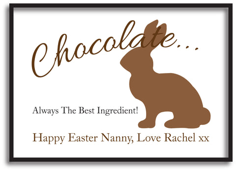 EA02 - Personalised Chocolate Easter Bunny Print