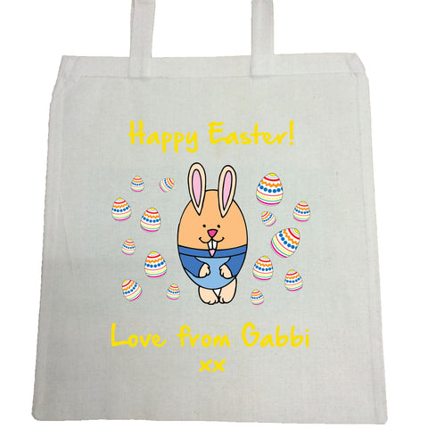 EA07 -  Personalised Easter Egg Bunny Canvas Bag