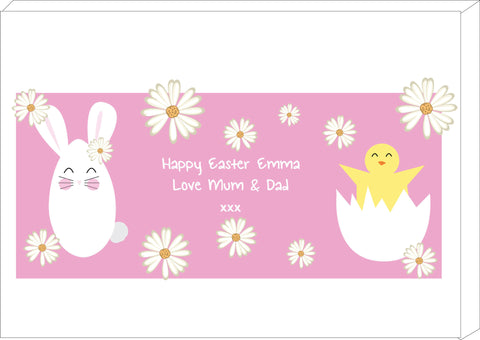 EA08 - Personalised Easter Bunny & Chick Canvas