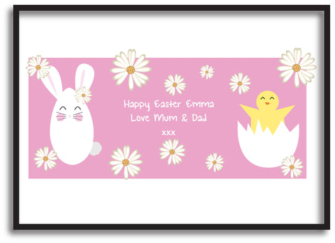 EA08 - Personalised Easter Bunny & Chick Print