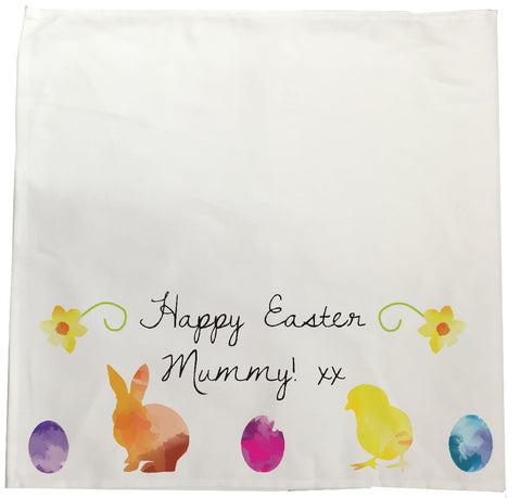 EA09 - Personalised Aztec Easter Bunny Canvas Tea Towel