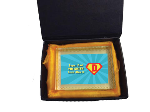 FD10 - Super Dad Personalised Crystal Block with Presentation Gift Box