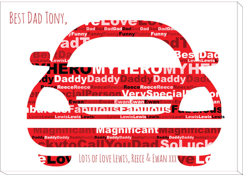 FD13 - Front of Car Word Art Dad Canvas