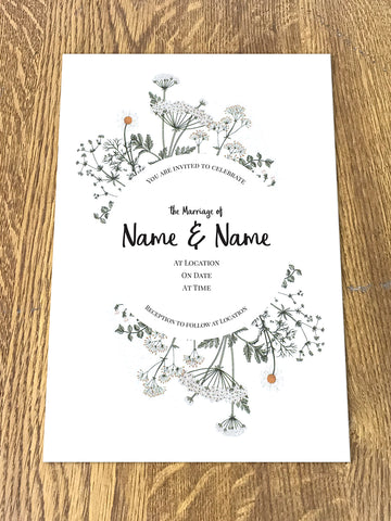 Personalised Wedding Floral Themed Invitations From Willow Printing and Design