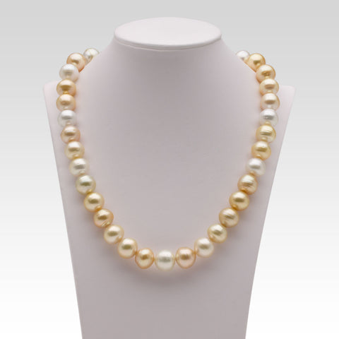 11-12.4mm Circled Multi-coloured Golden South Sea Pearl Strand