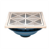 "Zurn Z150-DT 14"" Square Top Promenade Deck Drain with Decorative Heel-Proof Grate and Rotatable Frame"