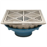 "Zurn Z154-DT 12"" Square Top Promenade Deck Drain with Decorative Heel-Proof Grate and Rotatable Frame"