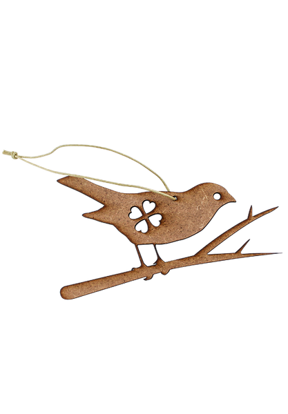 Christmas Robin on branch wooden tree ornament