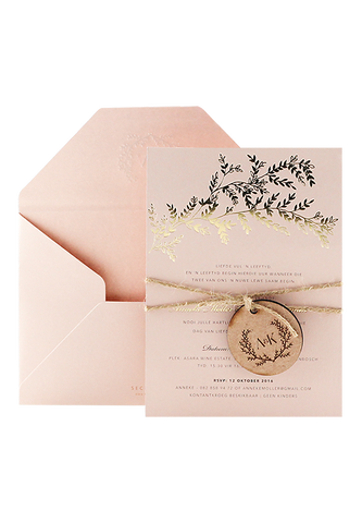 Golden Wreath Invitation - Blush Edition