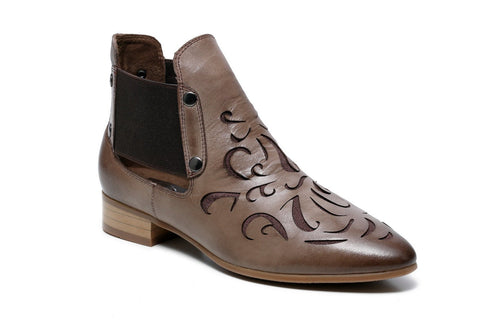 Abba Flat Heel Ankle Women Leather Boots - Brown Women Shoes - Vicenzo Leather - Designer