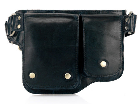 Adonis 2 Leather Waist Purse Fanny Pack - Black waist pack - Vicenzo Leather - Designer