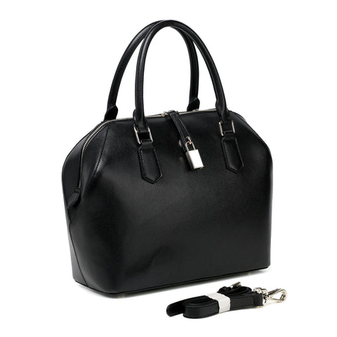 Lucie Leather Top Handle Handbag - Black Handbags - Vicenzo Leather - Designer