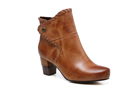 Ally Chunky Heel Women Leather Ankle Boots - Tan Women Shoes - Vicenzo Leather - Designer