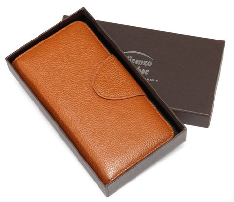 Acel Pebbled Leather Compact Wallet-Brown Wallets - Vicenzo Leather - Designer