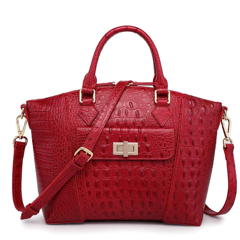 Carrina Croc Embossed Leather Handbag Handbags - Vicenzo Leather - Designer