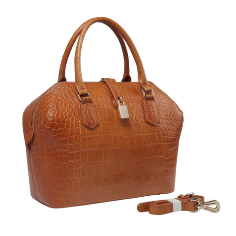 Diane Croc Embossed Tote Leather Handbag - Honey  - Vicenzo Leather - Designer