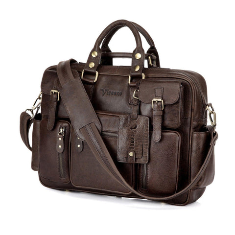 Signature Full Grain Leather Briefcase, Dark Brown briefcase - Vicenzo Leather - Designer