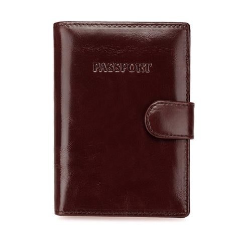 London Distressed Leather Travel Passport Wallet  - Brown - Monogram Passport Wallets - Vicenzo Leather - Designer