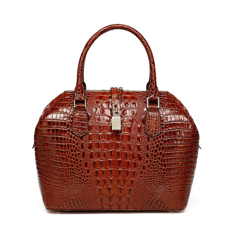Diane Croc Embossed Tote Leather Handbag Handbags - Vicenzo Leather - Designer