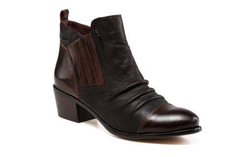 Ophelia Low Heel Ankle Leather Bootie - Dark Brown Women Shoes - Vicenzo Leather - Designer