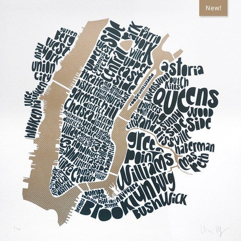 Map of NYC - gold/anthracite, Ursula Hitz - CultureLabel
