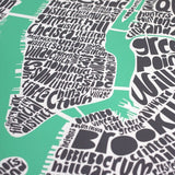 Map of NYC - pastel green, Ursula Hitz - CultureLabel