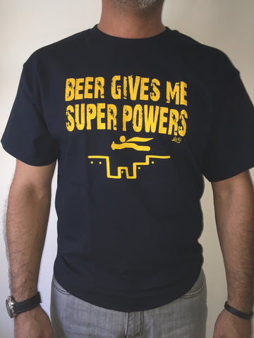 BEER GIVES ME SUPER POWERS NAVY T-SHIRT